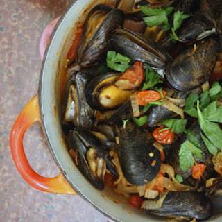 Mussels with Chorizo and Cherry Tomatoes.