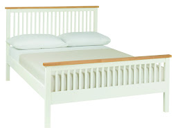Contemporary Two Tone (white/oak) High foot end bedstead.
