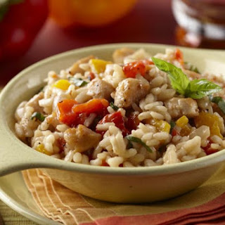 Risotto with Chicken and Roasted Peppers.