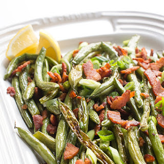 Roasted Green Beans with Crumbled Bacon.