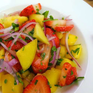 A Refreshing Mango Strawberry Salad.