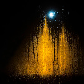 Full moon and two towers by Lajos E - Abstract Light Painting ( abstract, water, lights, hungary, moon, votive, winter, church, towers, window, dom, full, night, wet, szeged )