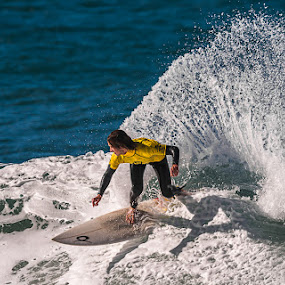 The turn by Joggie van Staden - Sports & Fitness Surfing ( water, surfing, fitness, surfboard, waves, sea, sport, surf, people, foam )