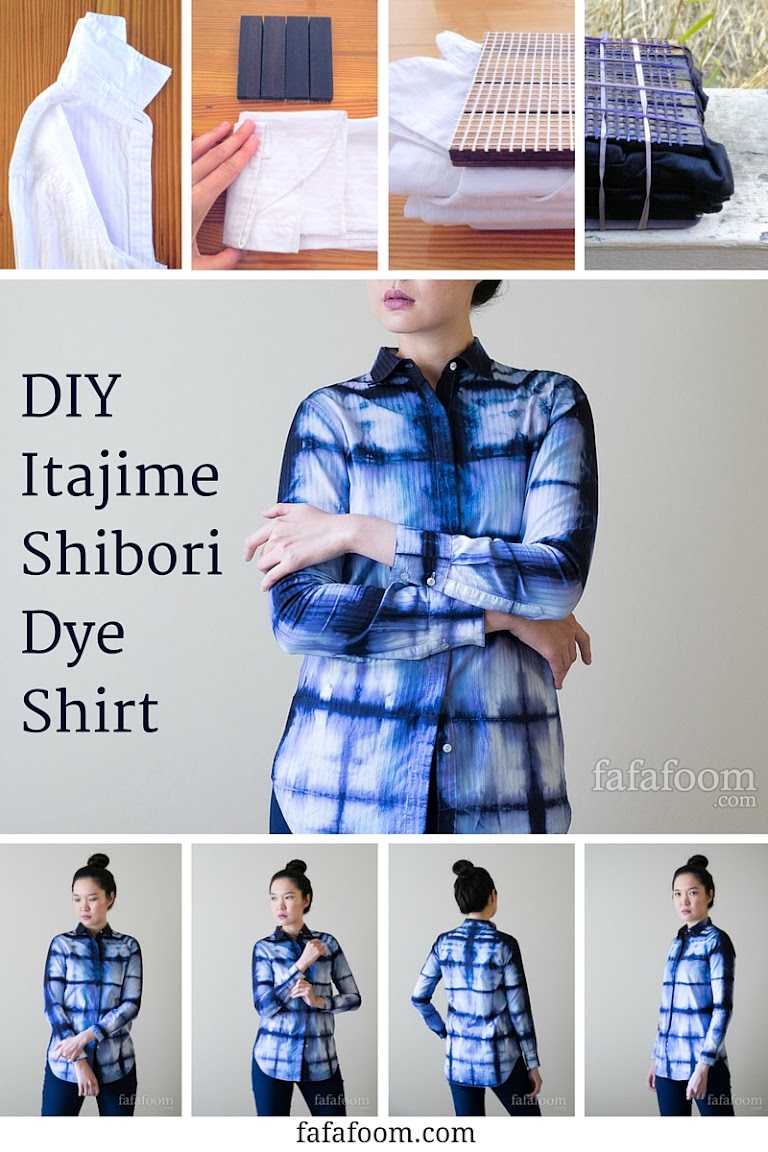 DIY Shibori Dyeing Shirt - Square Accordion Fold (Itajime) Style