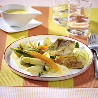 Pan-Fried Cod with Spring Vegetables.