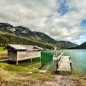 Rocky Lake and Mountains 17 by Adrian Wilson - Landscapes Mountains & Hills ( mcfade training, sking, up and down, lakes, ellmau, austria )