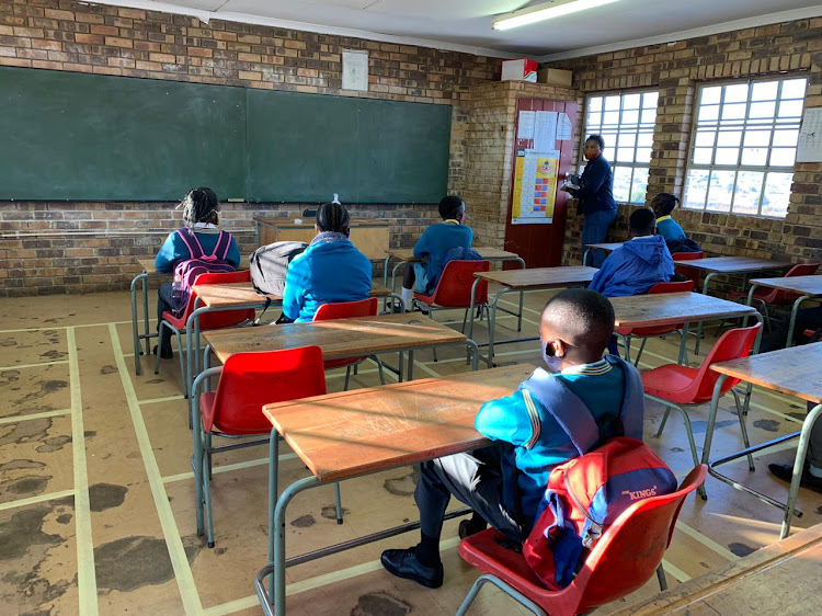 Class sizes have been reduced at Tsakani Primary School to ensure social distancing.