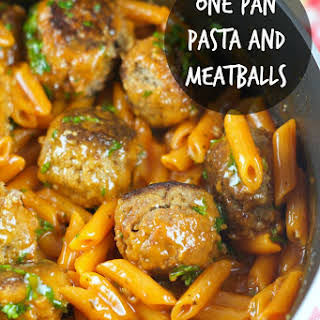 One Pan Pasta And Meatballs.