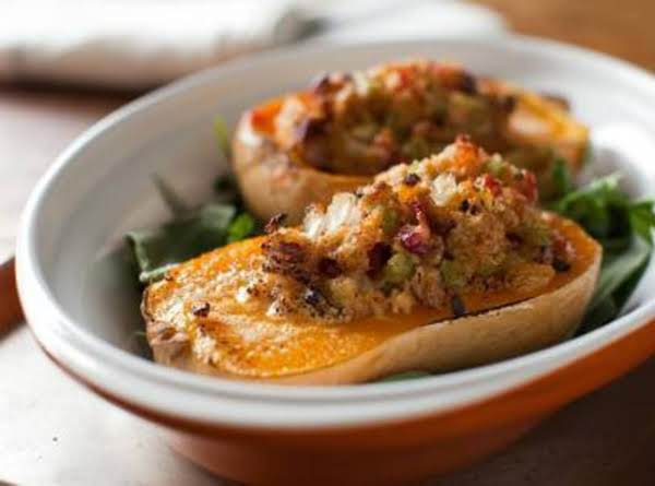 Roasted Winter Squash With Cornbread Stuffing