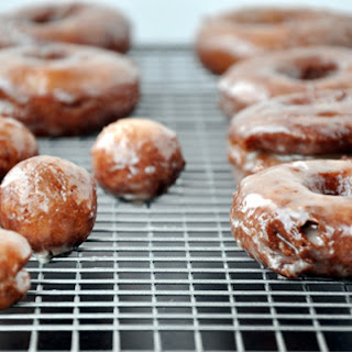 Glazed Sour Cream Doughnuts.