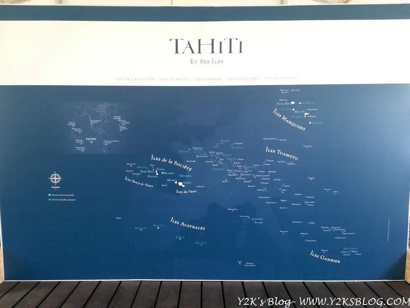 L'immensa estensione della Polinesia Francese rapportata all'Europa (sullo sfondo)
