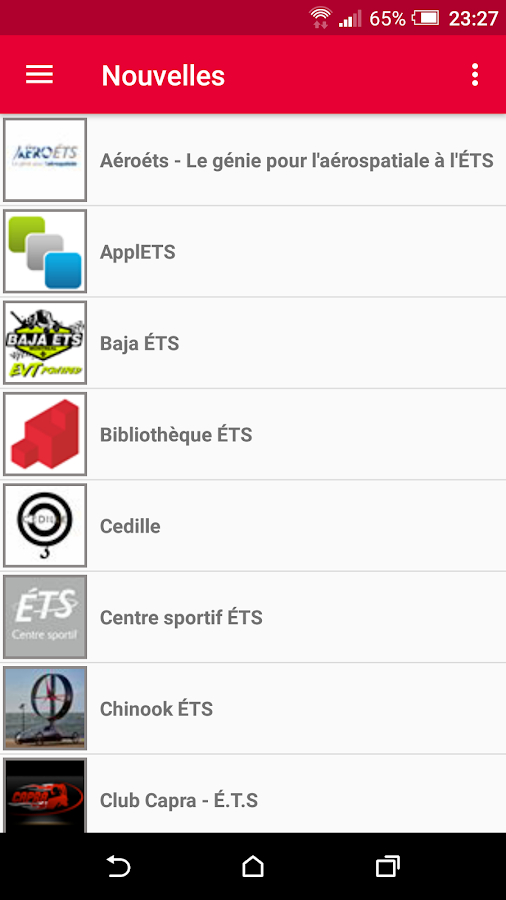 ÉTSMobile- screenshot