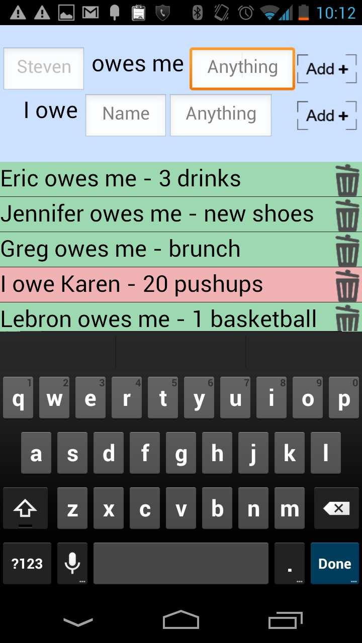 Скриншот Owe List