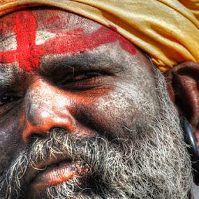 Ash-smeared ascetic  at Pushkar by Aparajita Saha - People Portraits of Men ( ash, pushkar, close shot, turban, beard, india, holy, ash-smeared, ascetic, portrait )