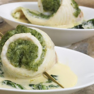 Stuffed Sole Fillets in Cream Sauec.