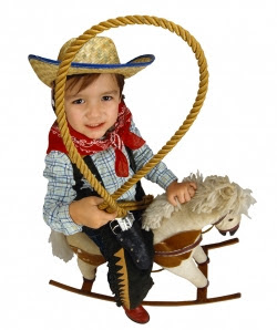 Little cowboy on rocking horse