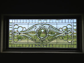 Photo: Replaced clear glass with stained glass thermopane unit. Allows for beauty and privacy. Custom handmade beautiful leaded glass bathroom window made with beveled glass.
