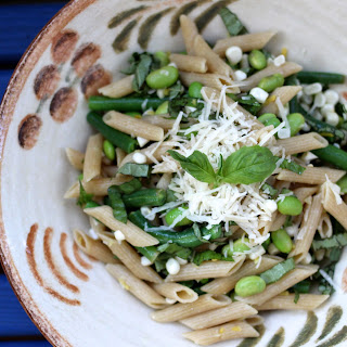 Summer Pasta with Sweet Corn, Green Beans and Edamame