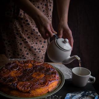 Caramelized blood orange Mandarin ricotta upside-down cake