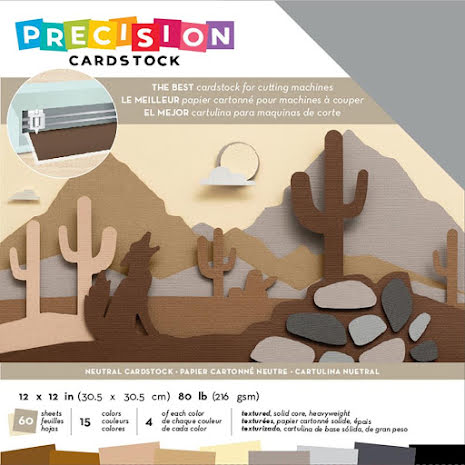 American Crafts Precision Cardstock Pack 12X12 60/Pkg - Neutral Textured