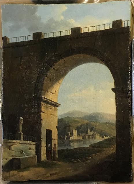Jean-Baptiste Berlot, Paysage avec une porte monumentale, 1820