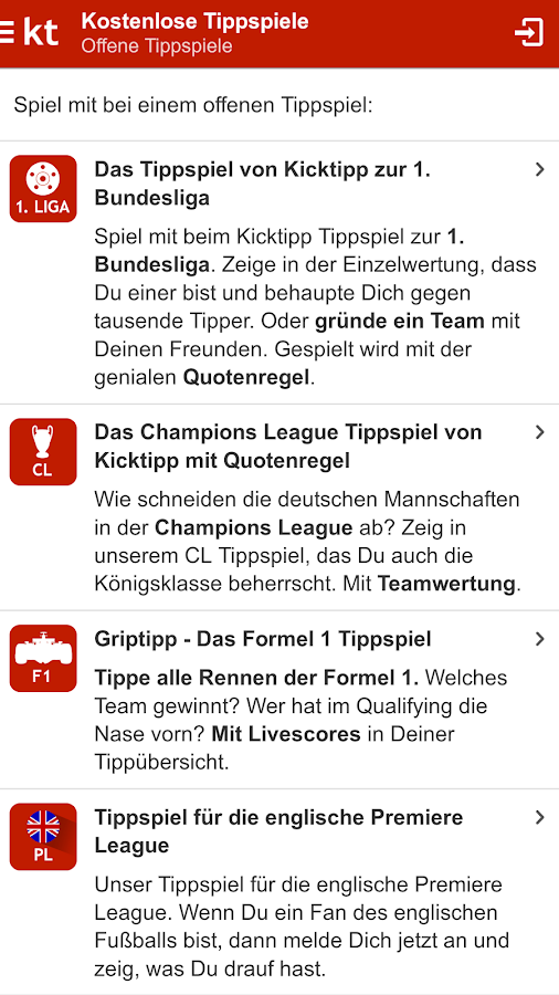 Kicktipp – Screenshot