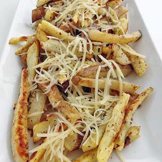 Sweet and Russet Potato Garlic Fries.