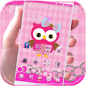 Pink Owl Theme Rosy Lace Bow