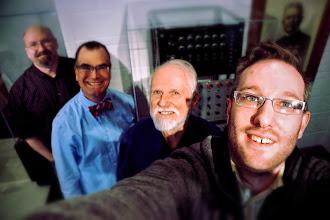 Photo: Mark Smart, Scott Schwartz, Jim Beauchamp, and me in front of the original Harmonic Tone Generator at the Sousa Archives - University of Illinois at Urbana Champaign.