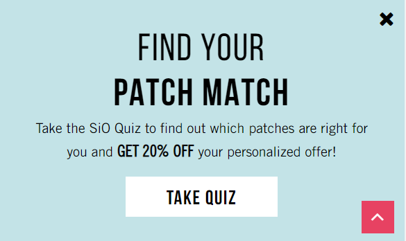 SiO quiz popup with discount