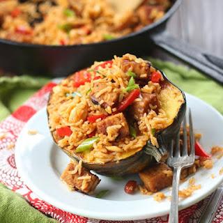 Red Curry Basmati Rice and Tempeh Stuffed Acorn Squash.