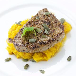 Ponzu Steak on a Wasabi pumpkin purée