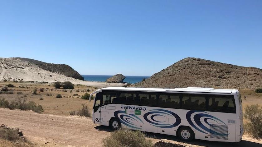 Imagen de uno de los autobuses que cubren el trayecto entre playas.