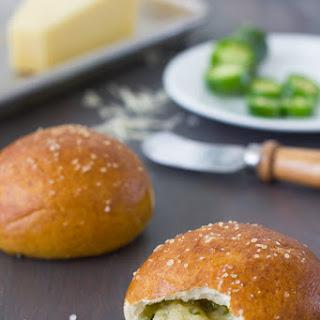 Cheese and Jalapeño Stuffed Pretzel Rolls