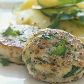 Chicken Burgers with Cucumber and Potato Salad