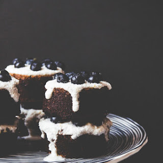 Blueberry Poppy Seed Almond Cakes with Lemon Coconut Cream.