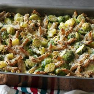 Hearty wholewheat pasta with Brussels sprouts, cheese and potato.
