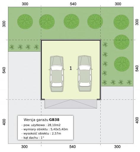 GB38 Garaż blaszany otynkowany - Rzut przyziemia