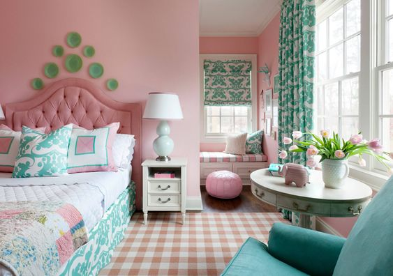 Teal Patterns Among Pink Background
