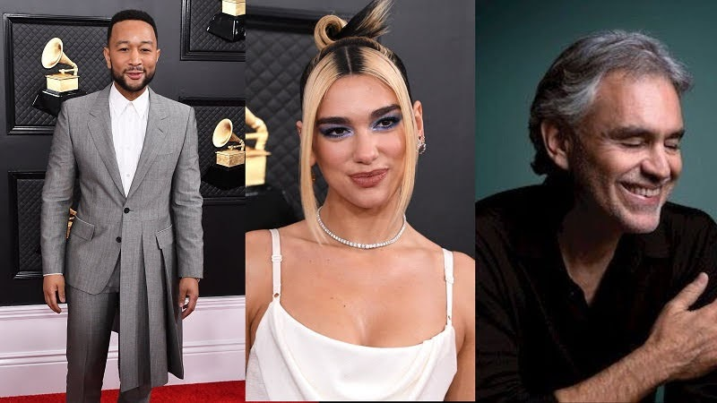 Dua Lipa, Andrea Bocelli and John Legend will join in the Late Late Show with James Corden .
