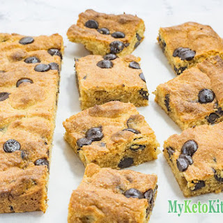 Low Carb Chocolate Chip Peanut Butter Blondies.