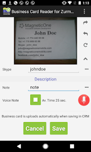Business Card Reader for Zurmo CRM- screenshot thumbnail