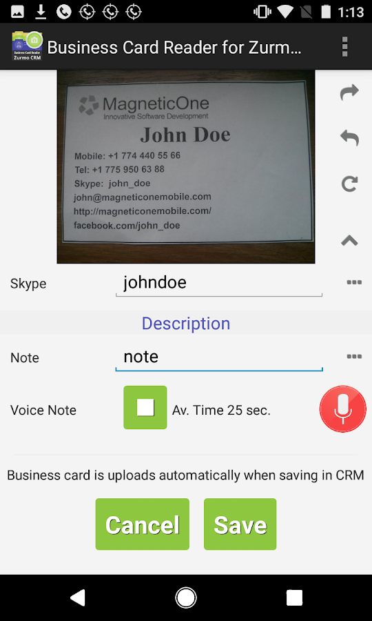 Business Card Reader for Zurmo CRM- screenshot