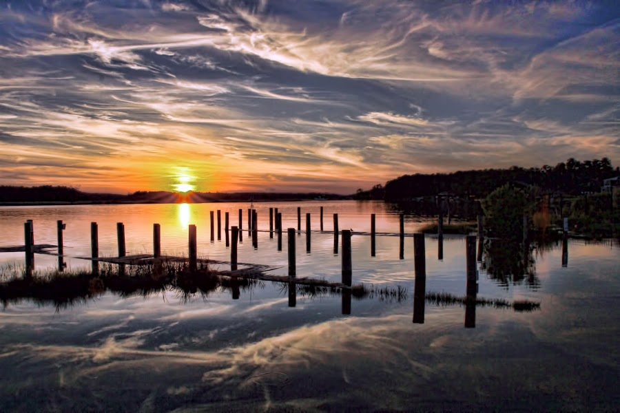The Pier by Sharon Moore - Landscapes Sunsets & Sunrises