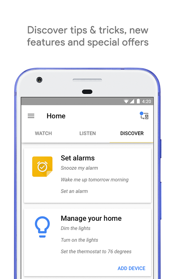Google Home: captura de pantalla