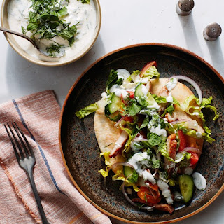 Shawarma-Spiced Chicken Pita with Tahini-Yogurt Sauce