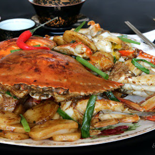 Stir Fried Crab with Chinese New Year Cake.