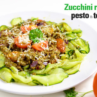 Zucchini Ribbons With Pesto And Tomato.