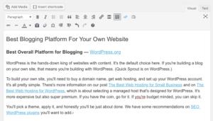 Article de blog sur WordPress