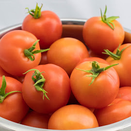Bowl of Tomatoes by Helen Nickisson - Food & Drink Fruits & Vegetables ( red, tomatoes, garden, bowl, fresh, vegetables )